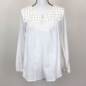 J. Crew White Embroidered Peasant Top Blouse